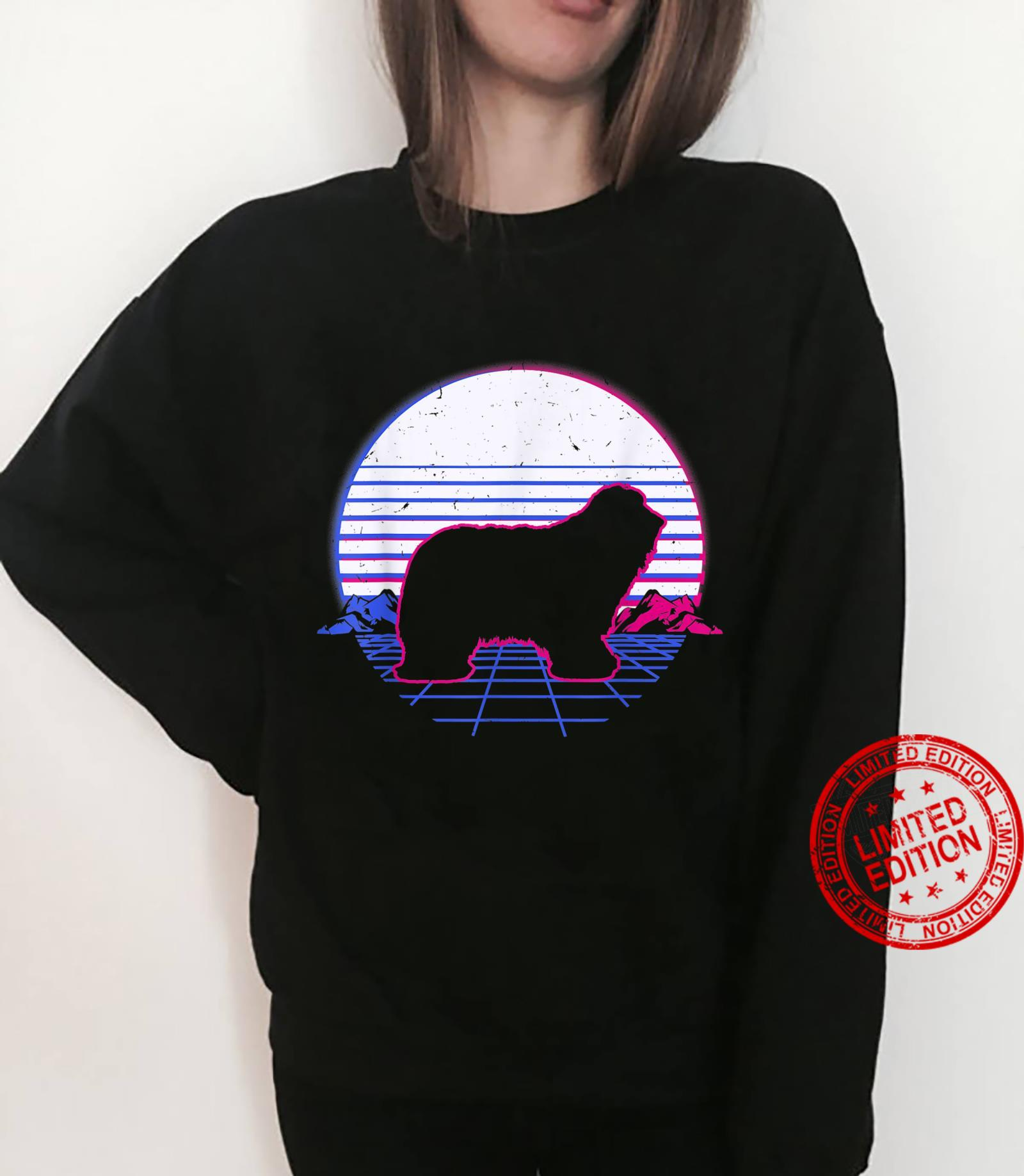 Bearded Collie Dog Puppy Retro Vintage Sunset Shirt sweater