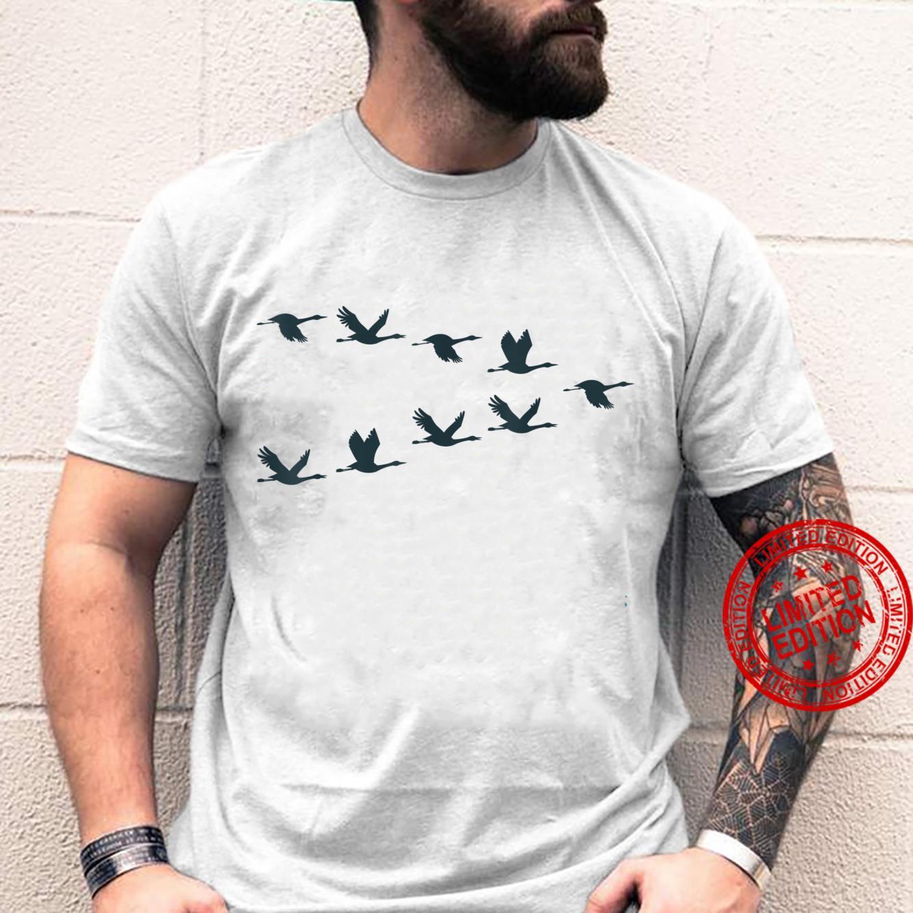 Flock Cranes Stork Black Silhouette Flying Shirt