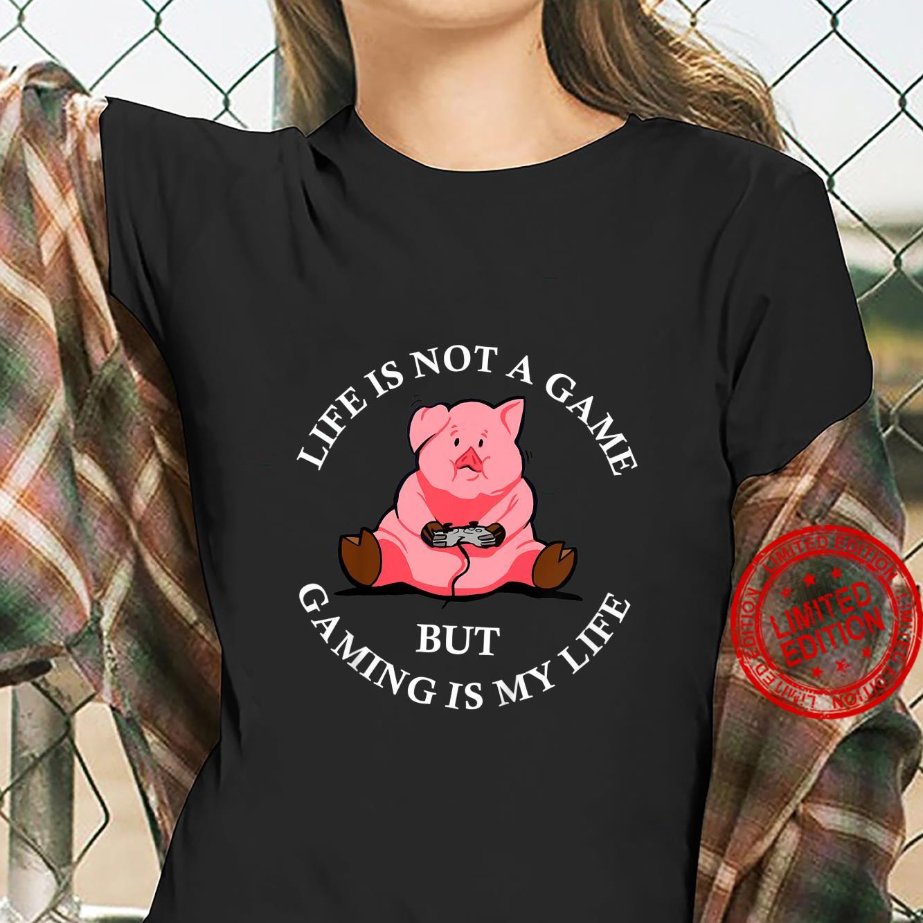 Kids Cute Pig Video Game Player Pork Gaming Videogame Shirt ladies tee