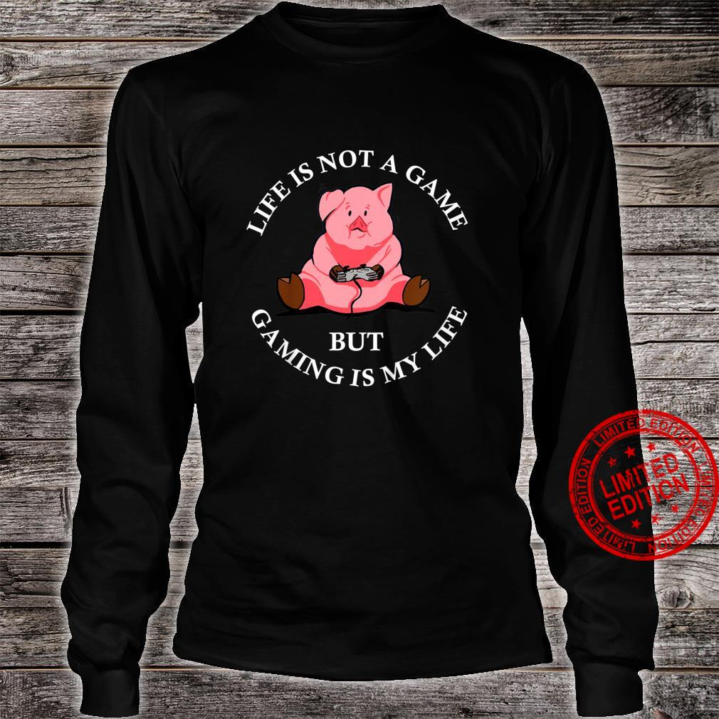 Kids Cute Pig Video Game Player Pork Gaming Videogame Shirt long sleeved