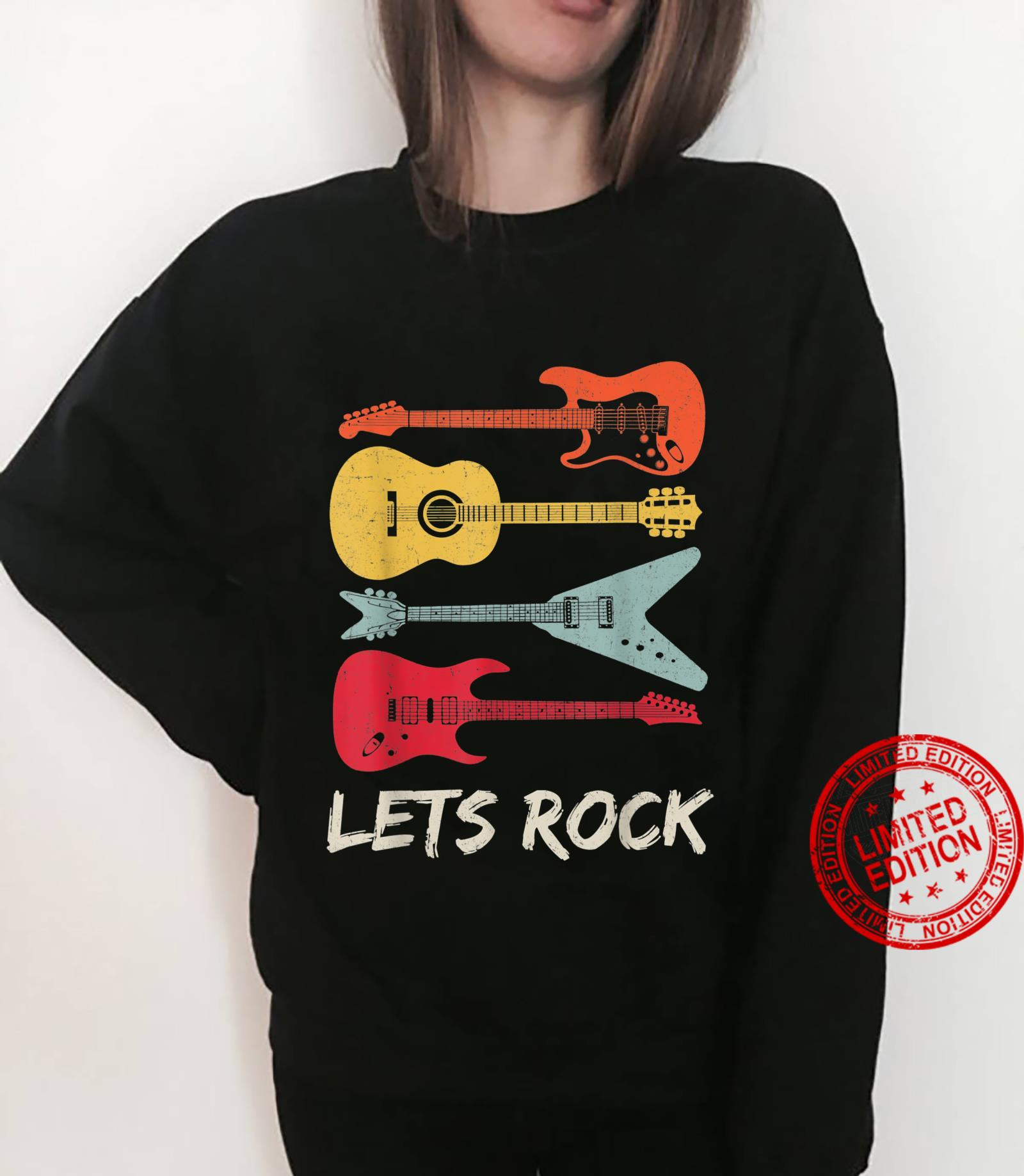 Lets Rock Rock n Roll Guitar Retro Shirt Shirt sweater