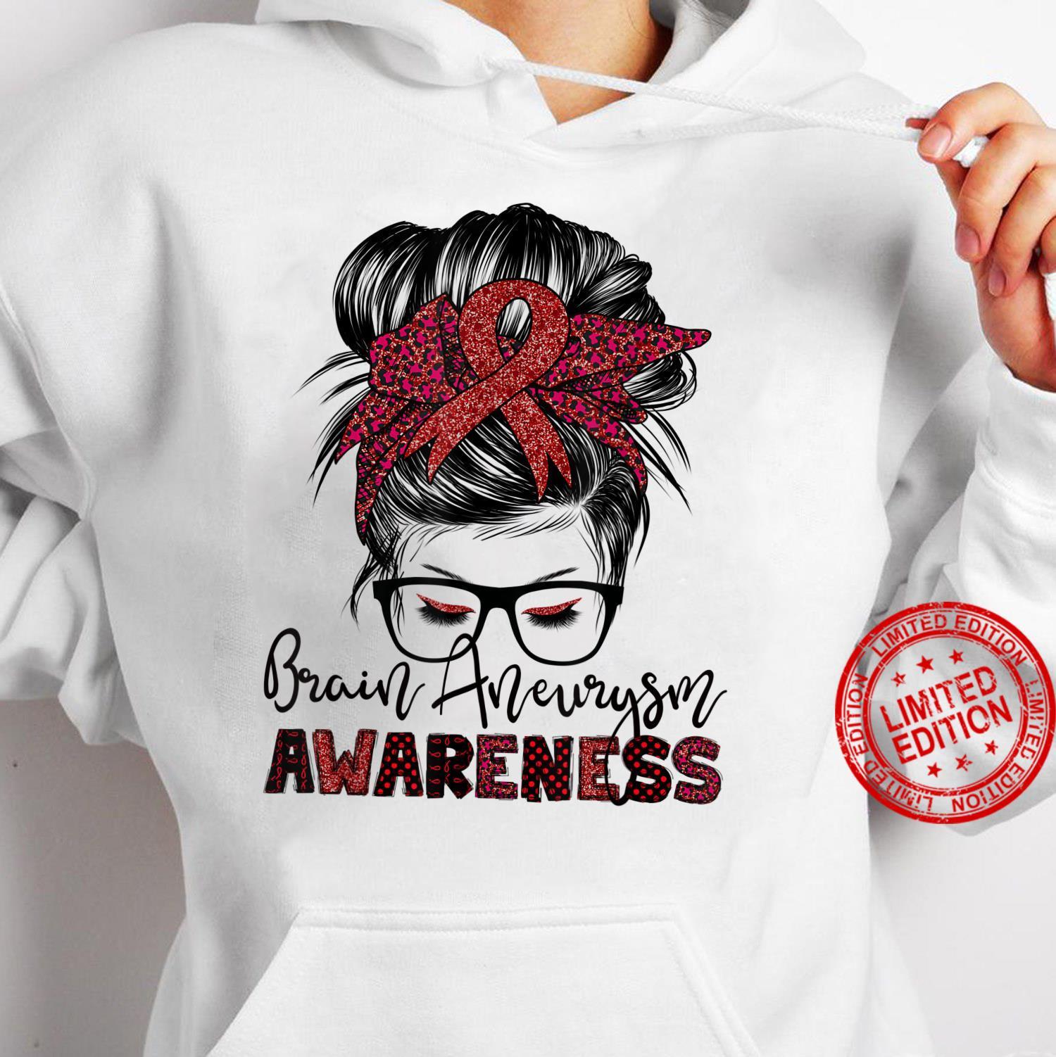 Messy Hair Bun Brain Aneurysm awareness Shirt hoodie