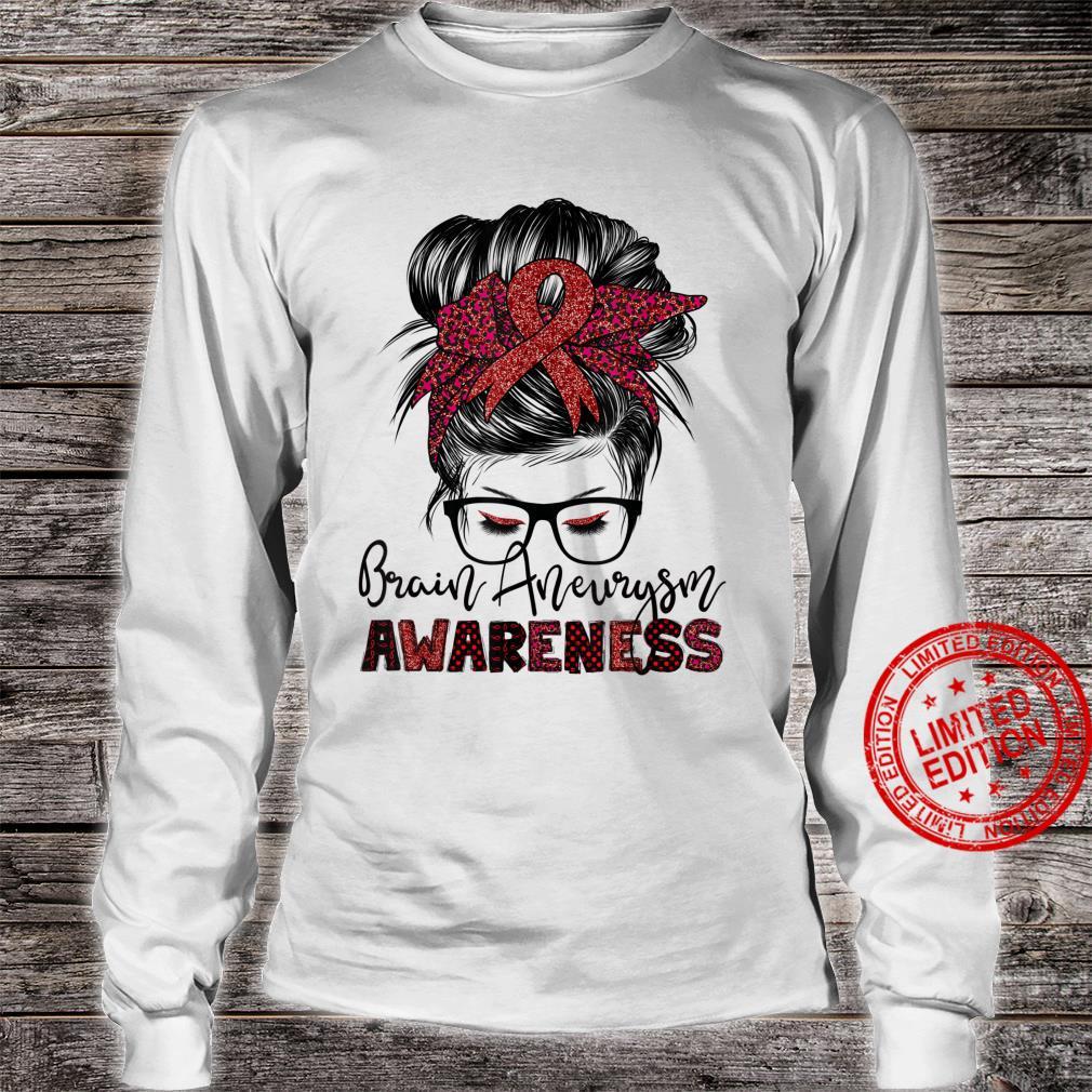 Messy Hair Bun Brain Aneurysm awareness Shirt long sleeved