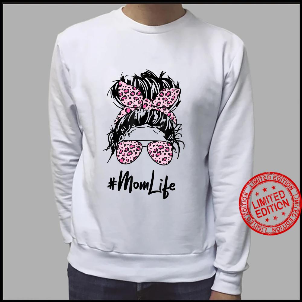 Messy Hair Bun Pink Leopard Pattern Shades Mom Life Shirt sweater