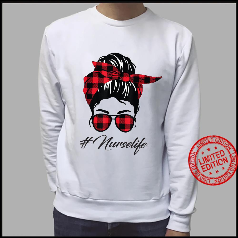 Plaid Nurse Life Messy Bun Hair &Glasses Mothers Day Shirt sweater