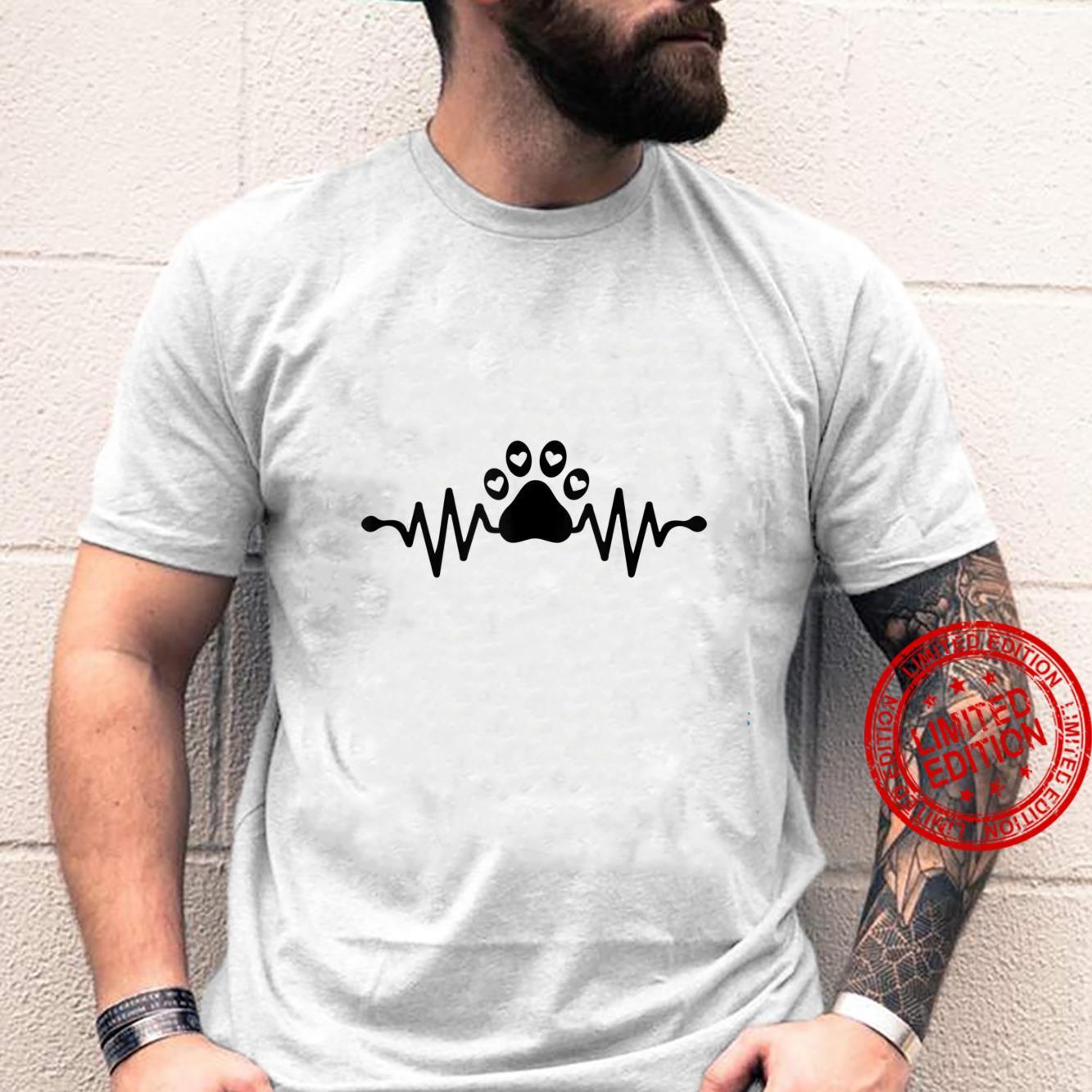 Puppy Dog Paw Print Heartbeat Dog Love Hearts Pet Paw Shirt