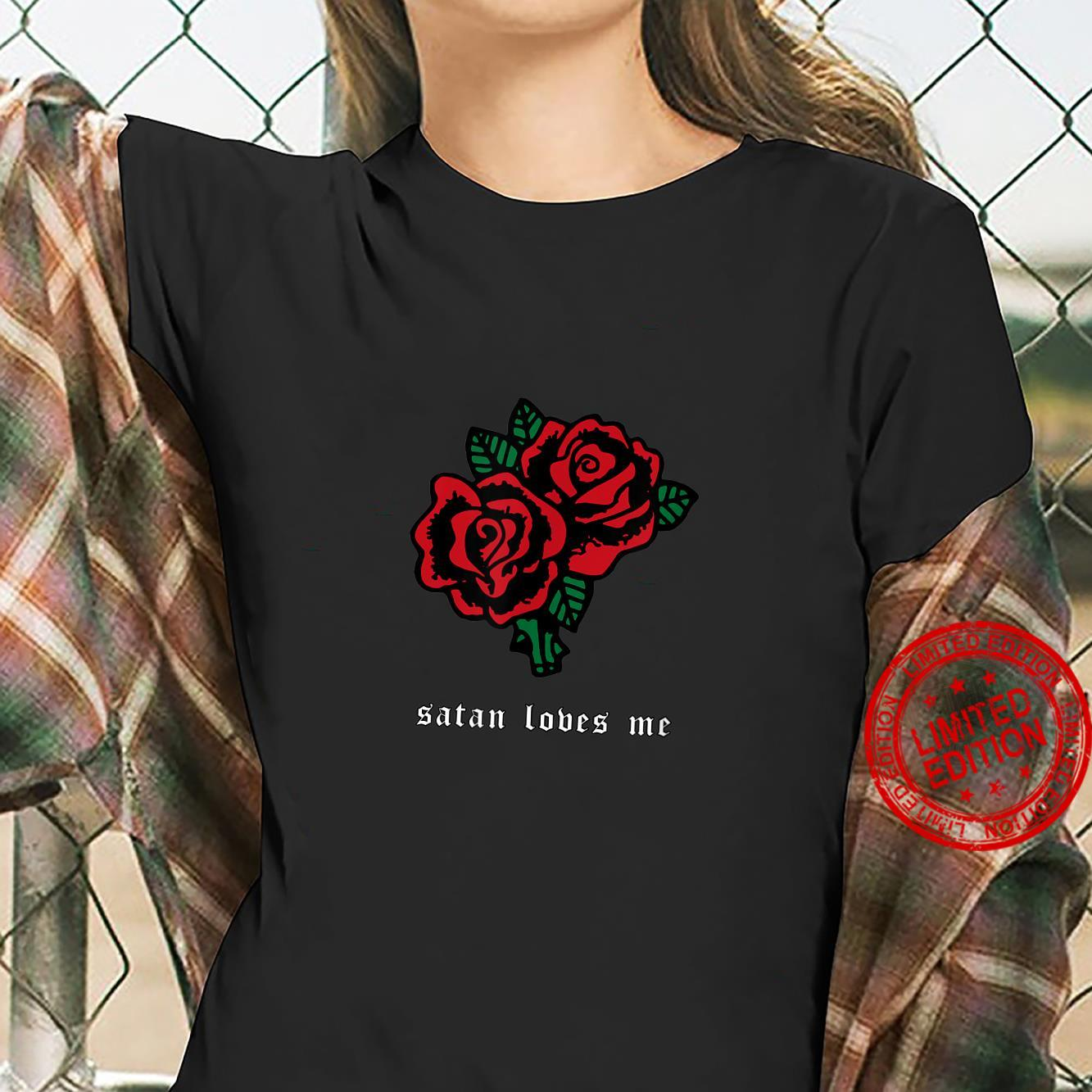 Satan Loves Me Soft Grunge Aesthetic Red Rose Flower Shirt ladies tee