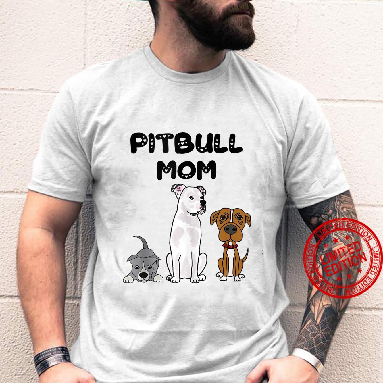 Smileteespets Pit bull Mom Puppy Dog Cartoon Shirt