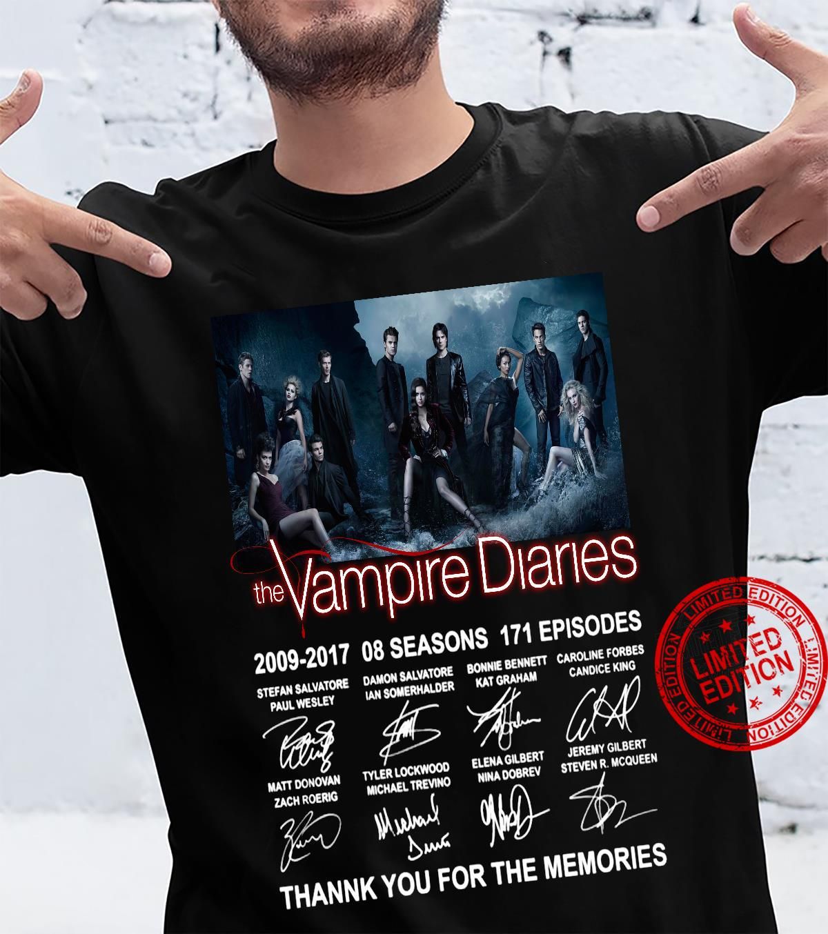 Thank you for the memories the vampire diaries 2009-2017 8 seasons 171 episodes signatures shirt