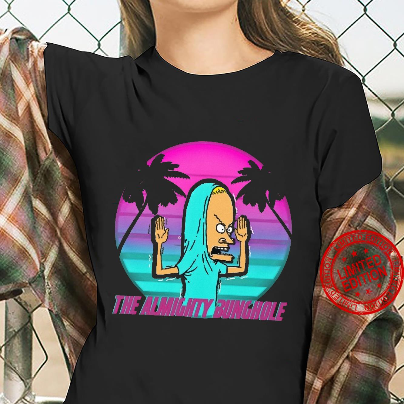 The Almighty Bunghole Beavis Purple sunset on palm shirt ladies tee