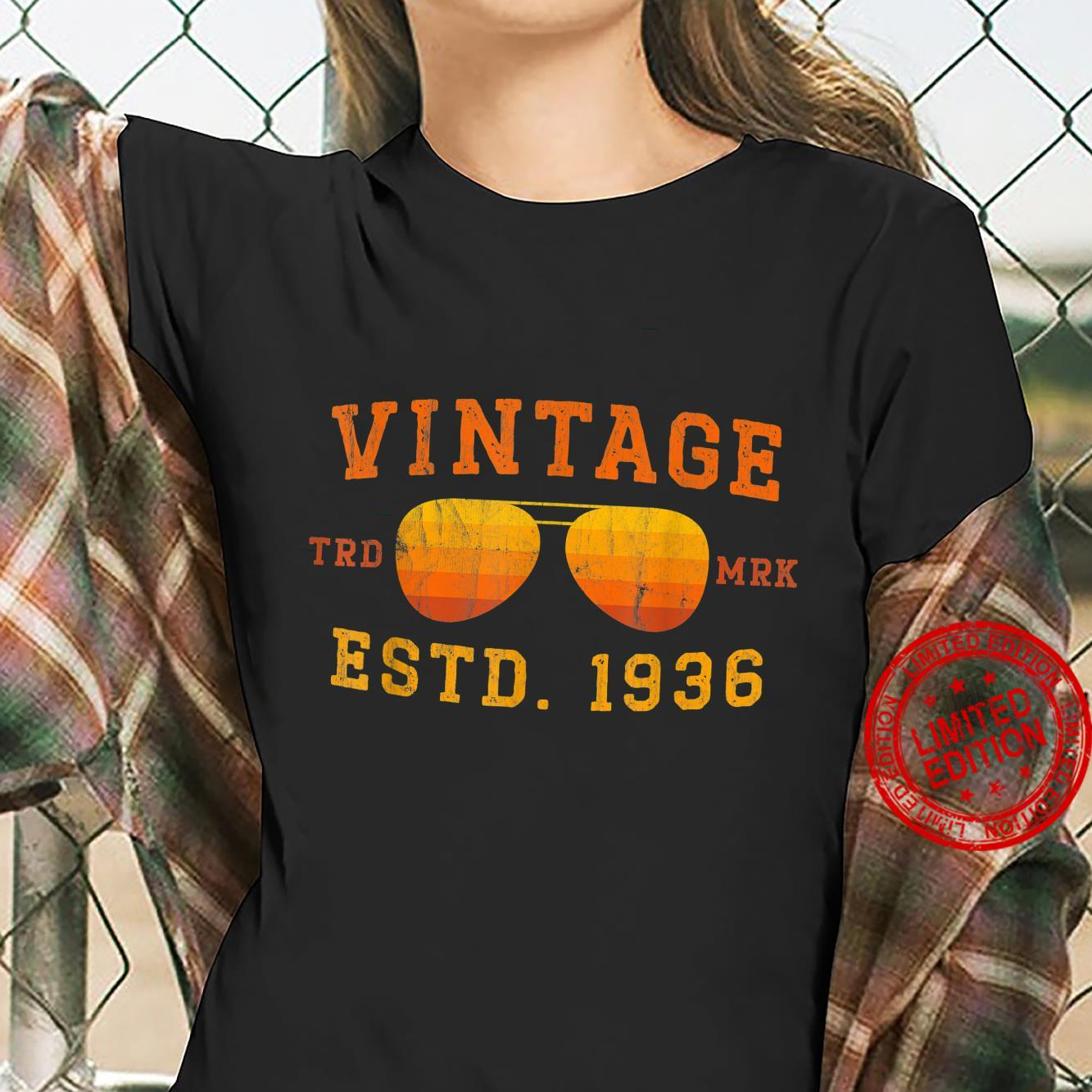 Vintage 1936 85th Birthday For 85 Year Old Shirt ladies tee