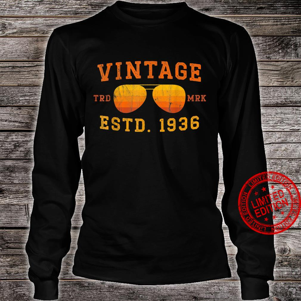 Vintage 1936 85th Birthday For 85 Year Old Shirt long sleeved