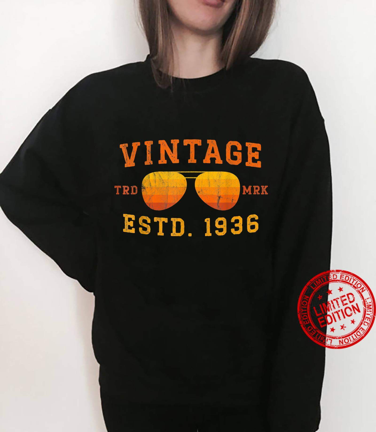 Vintage 1936 85th Birthday For 85 Year Old Shirt sweater