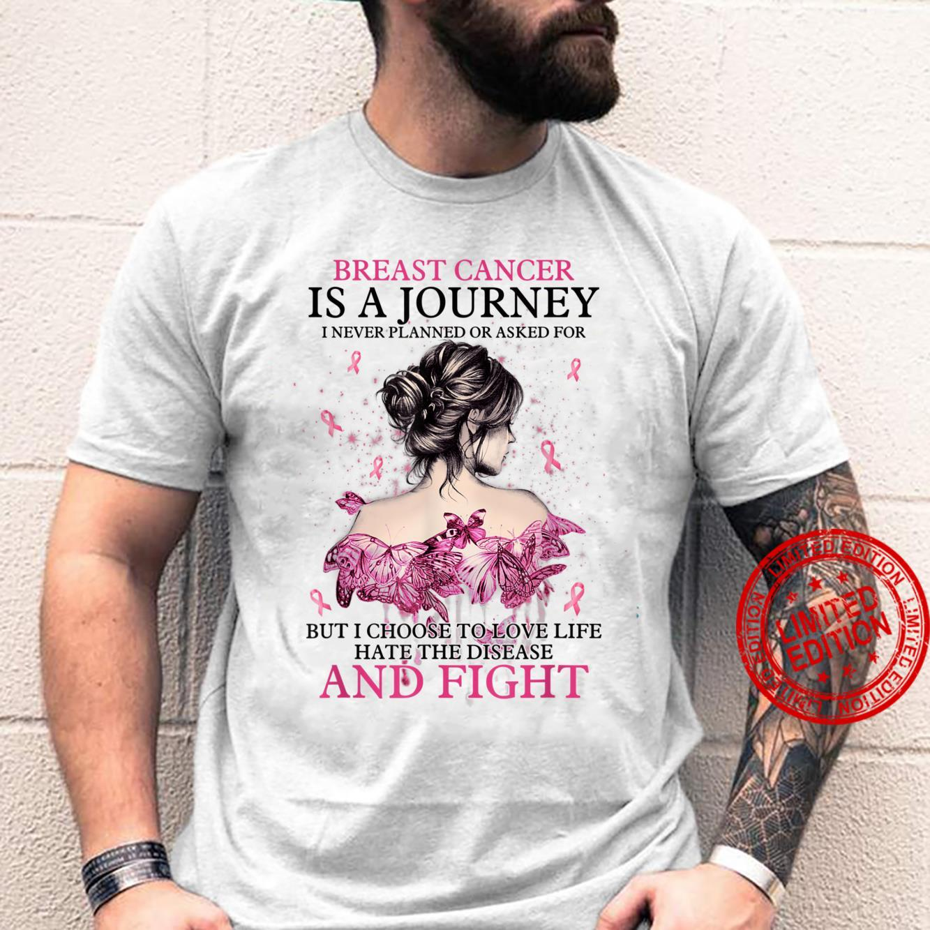 Womens Breast Cancer Is A Journey I Never Planned Messy Bun Shirt