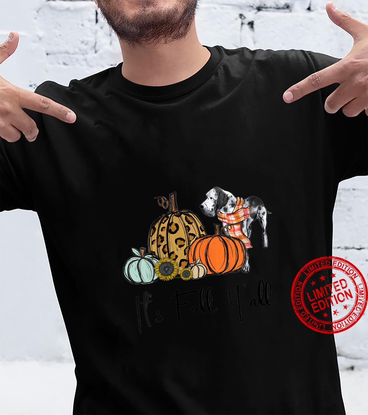 Womens It's Fall Y'all Pumpkin Great Dane Halloween Pumpkin Autumn Shirt