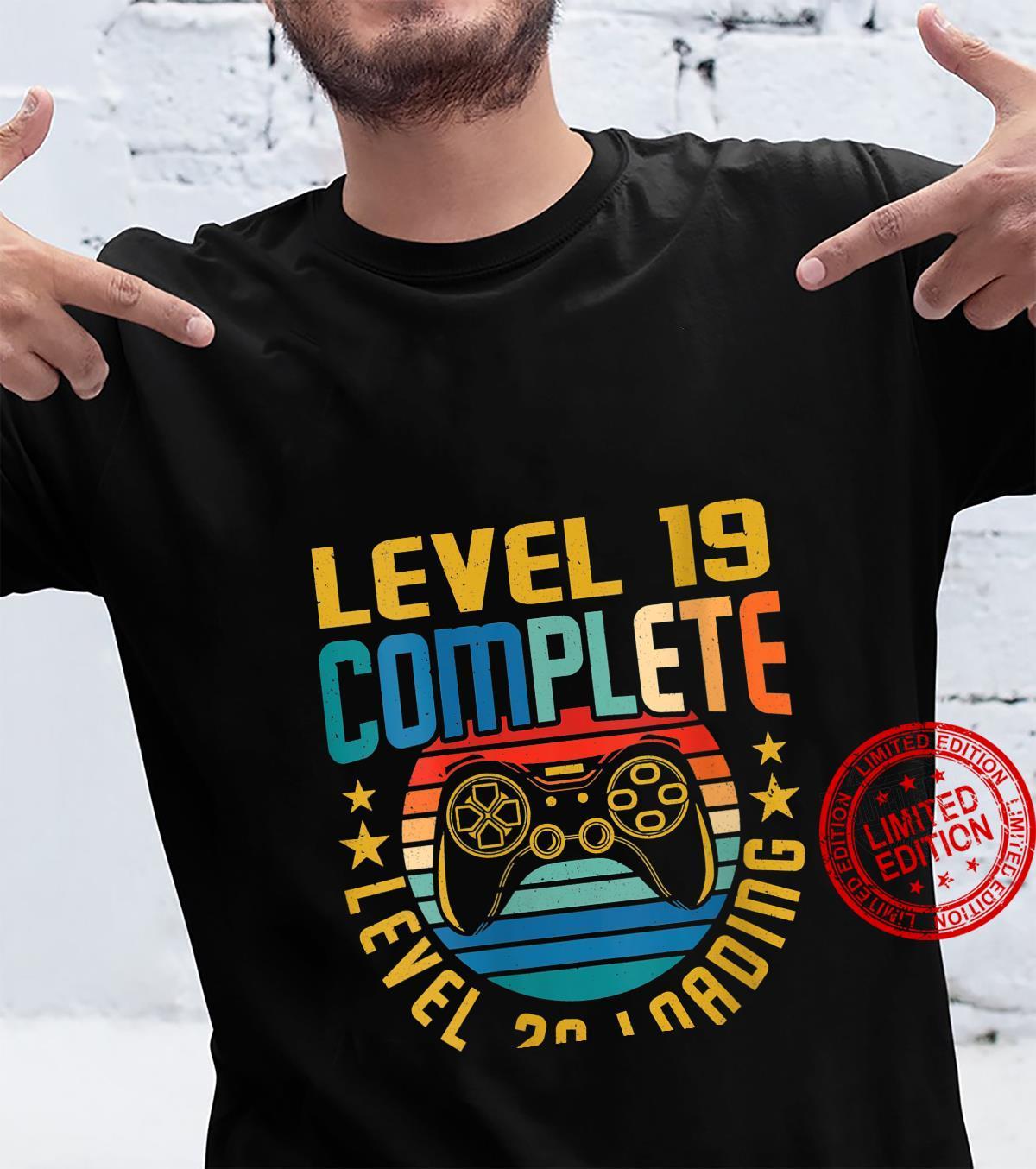 Womens Level 19 Complete Level 20 Loading 19th Birthday Video Gamer Shirt