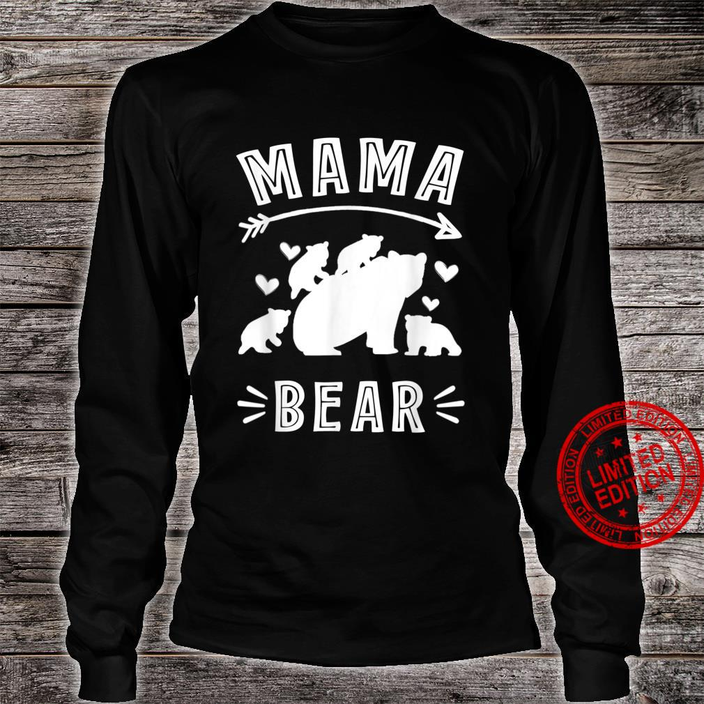 Womens Mama Bear 4 Cubs Cute Mothers Day For Moms Shirt long sleeved