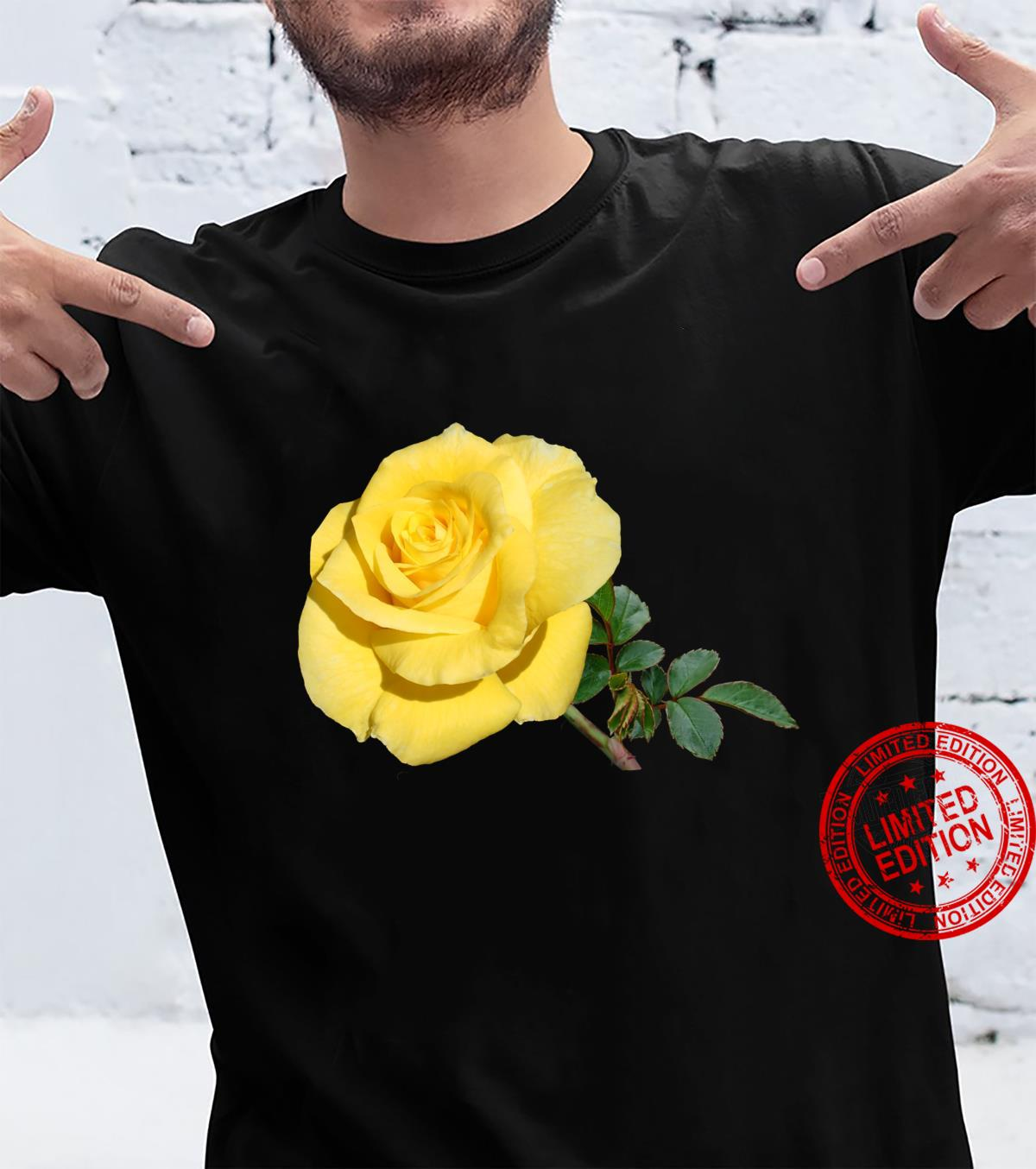 Yellow Rose Botanical Flower Shirt