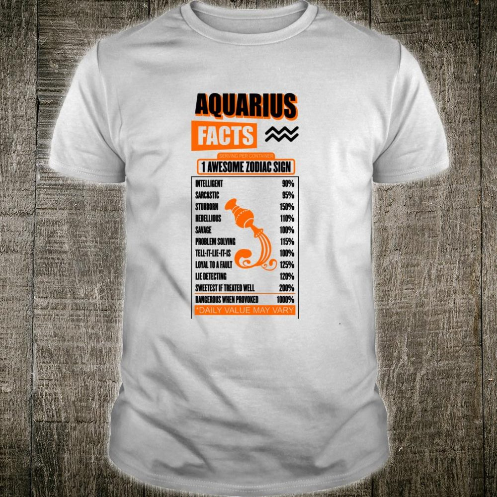 Aquarius Retro Personality Facts Zodiac Sign Astrology Shirt