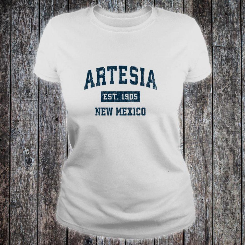 Artesia New Mexico NM Vintage Sports Design Navy Print Shirt ladies tee