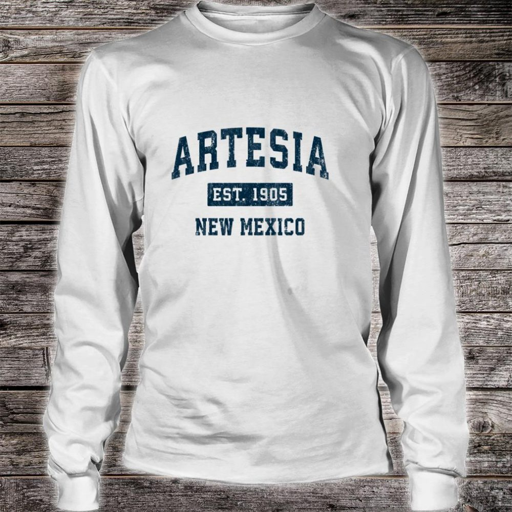 Artesia New Mexico NM Vintage Sports Design Navy Print Shirt long sleeved