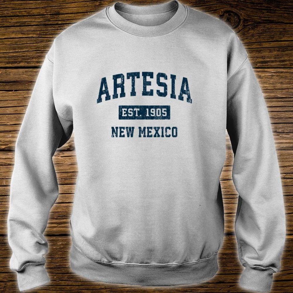 Artesia New Mexico NM Vintage Sports Design Navy Print Shirt sweater