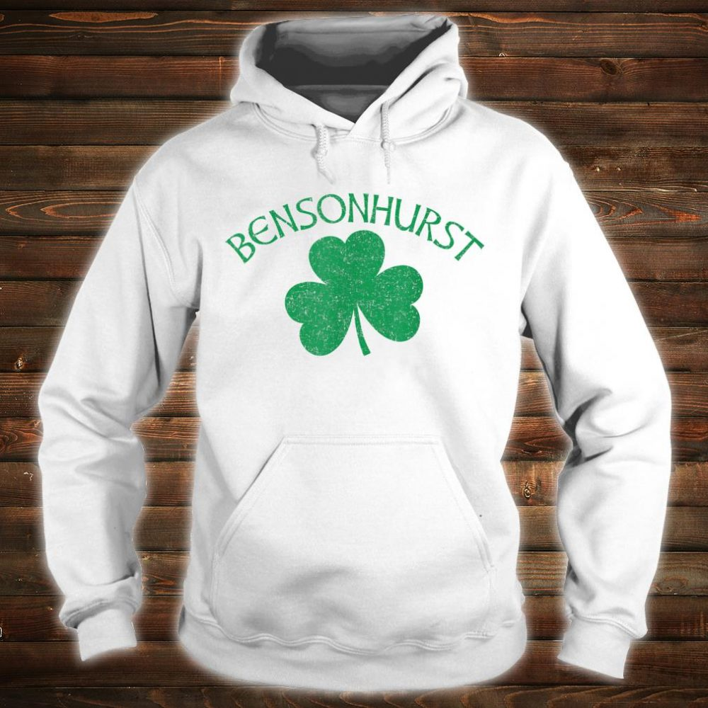 Bensonhurst Irish Shamrock Distressed Green Print Shirt hoodie