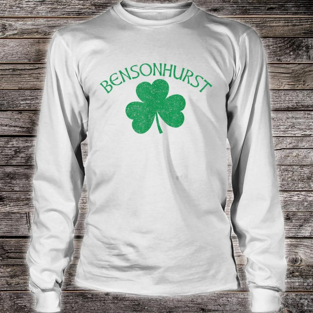 Bensonhurst Irish Shamrock Distressed Green Print Shirt long sleeved
