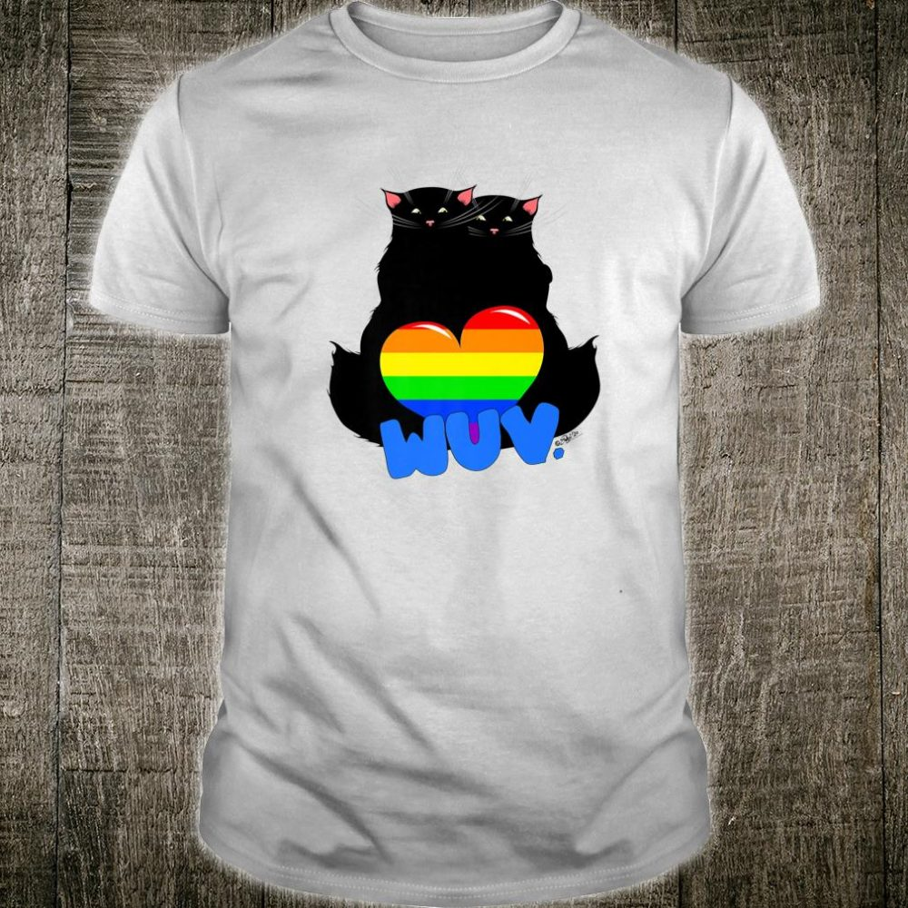 Black Cat Poe Love Gay Pride Valentines Day Shirt