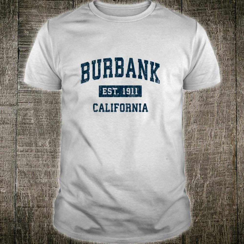 Burbank California CA Vintage Sports Design Navy Print Shirt