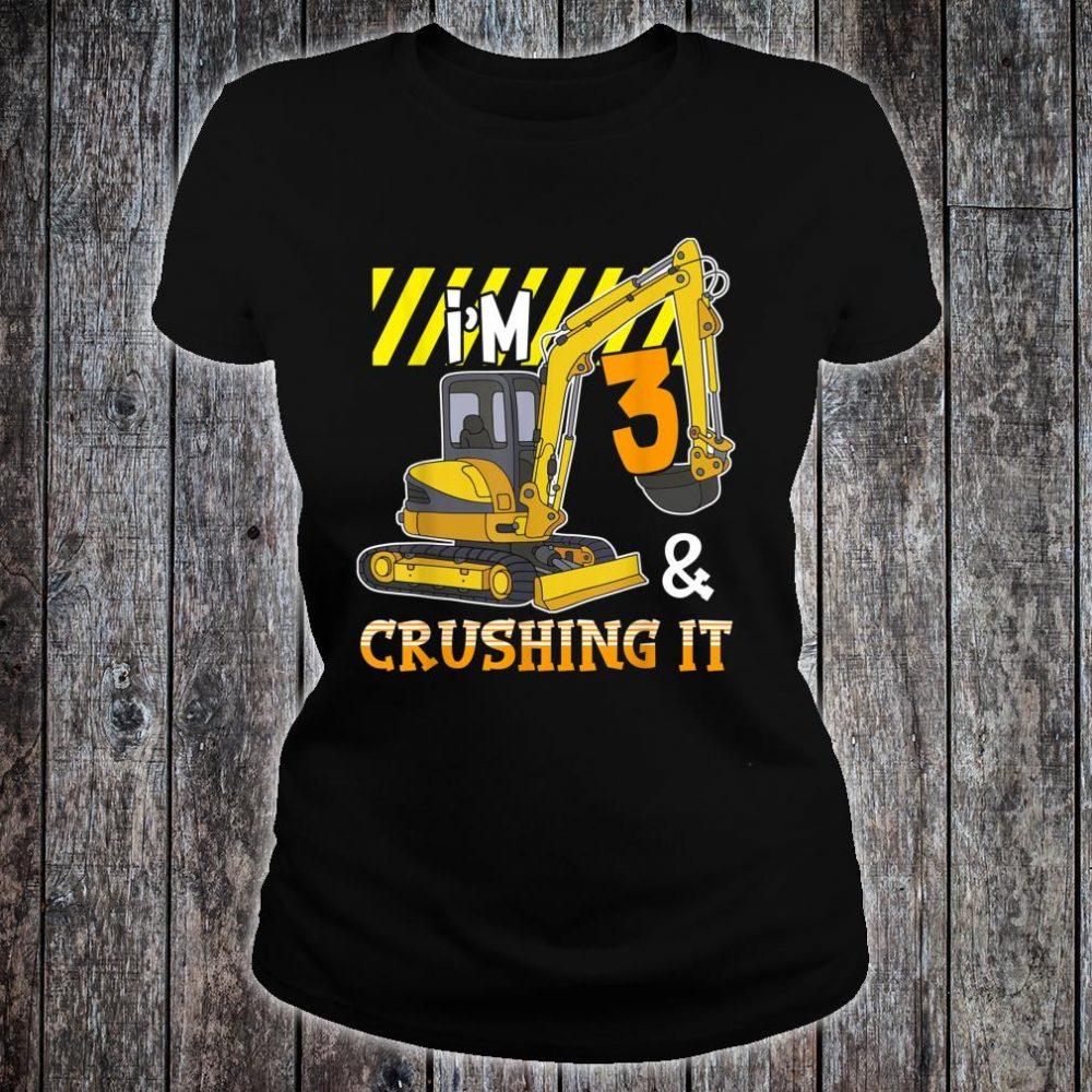 Excavator 3rd Birthday Construction Party Shirt ladies tee