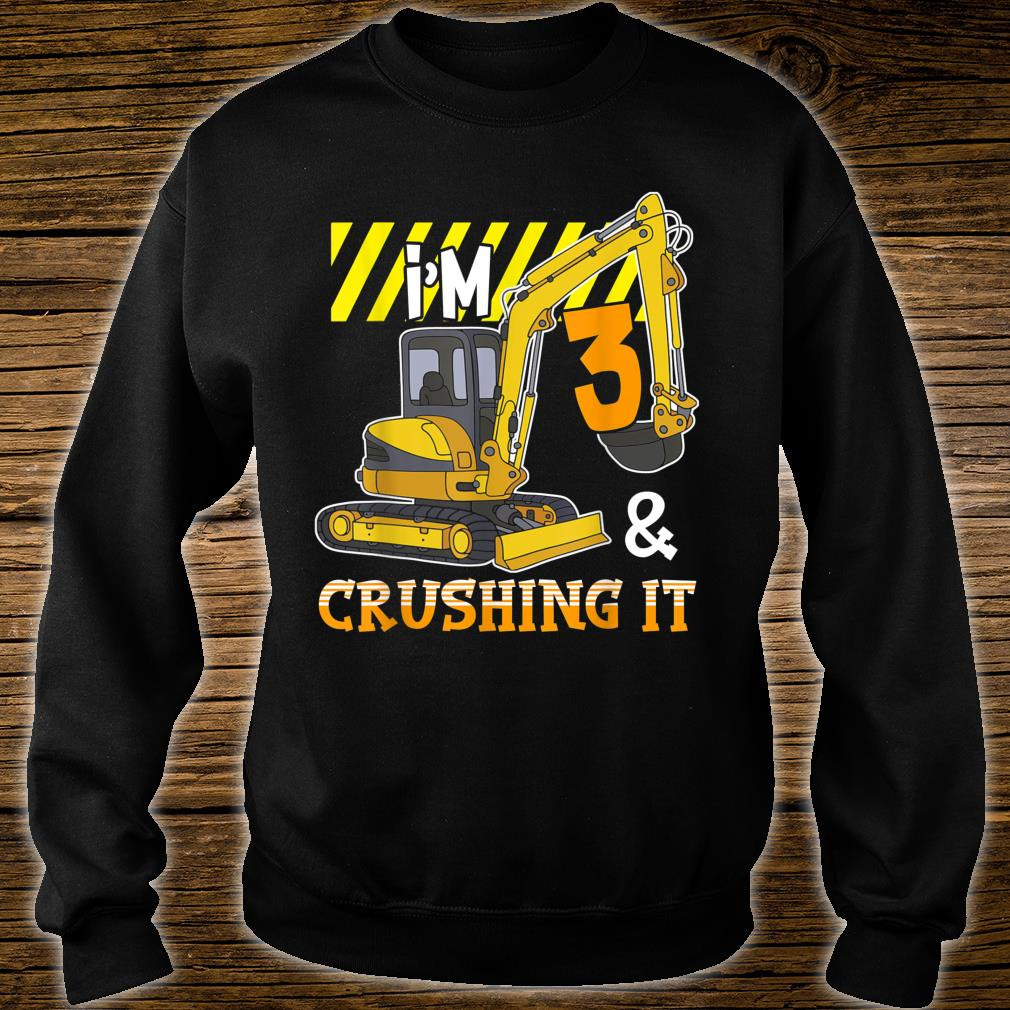 Excavator 3rd Birthday Construction Party Shirt sweater