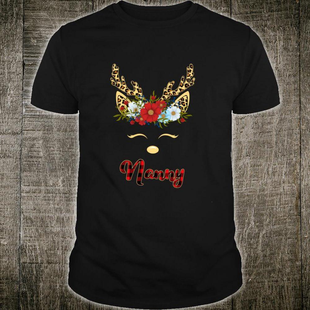 Funny Christmas Nanny Reindeer Flower Leopard Buffalo Plaid Shirt