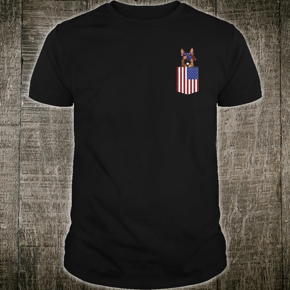 German shepherd pocket American Flag shirt