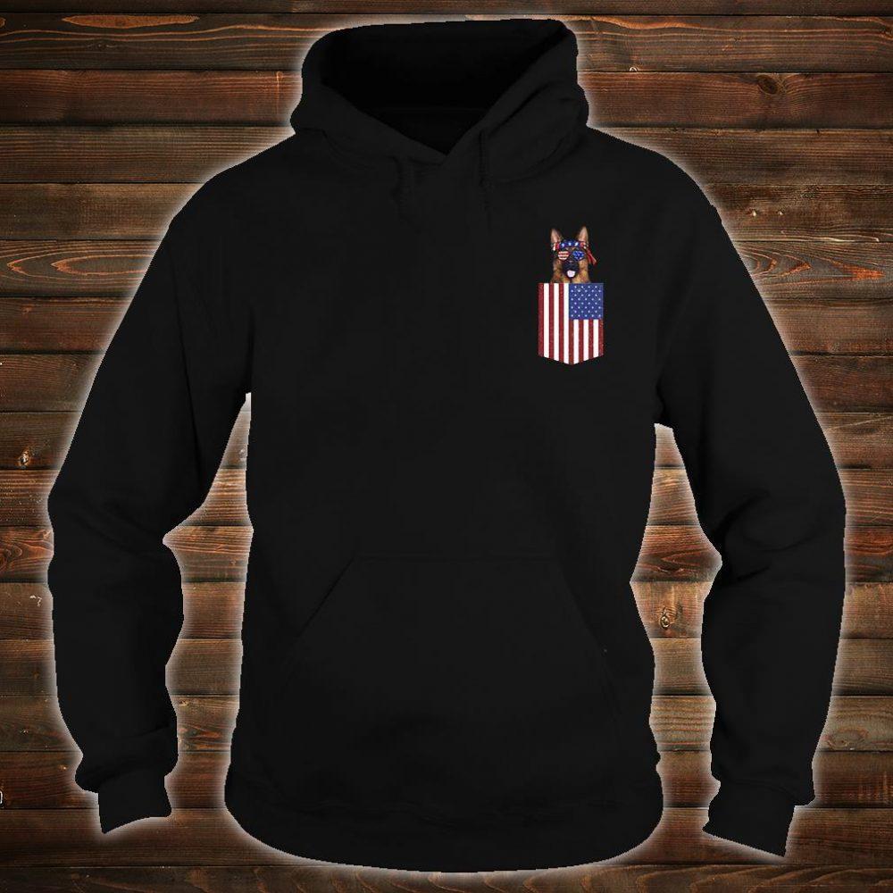 German shepherd pocket American Flag shirt hoodie
