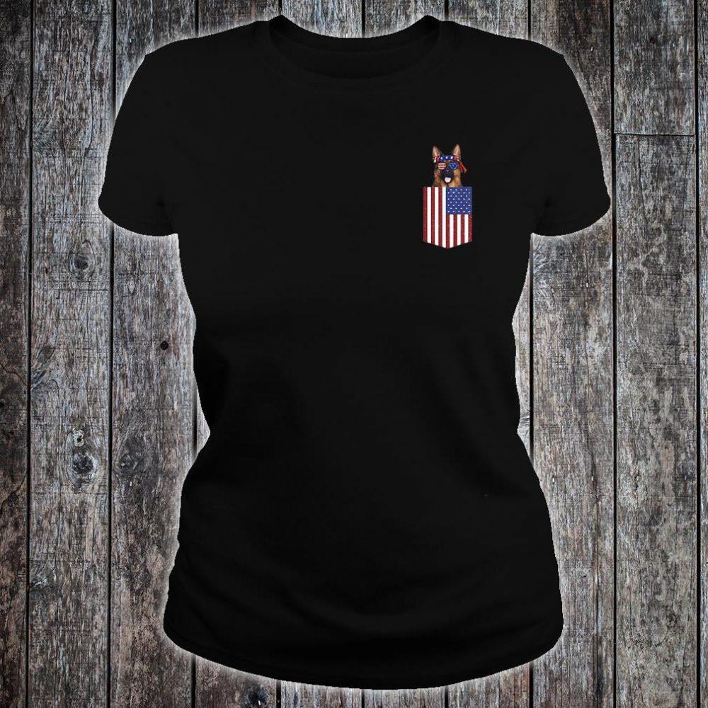 German shepherd pocket American Flag shirt ladies tee