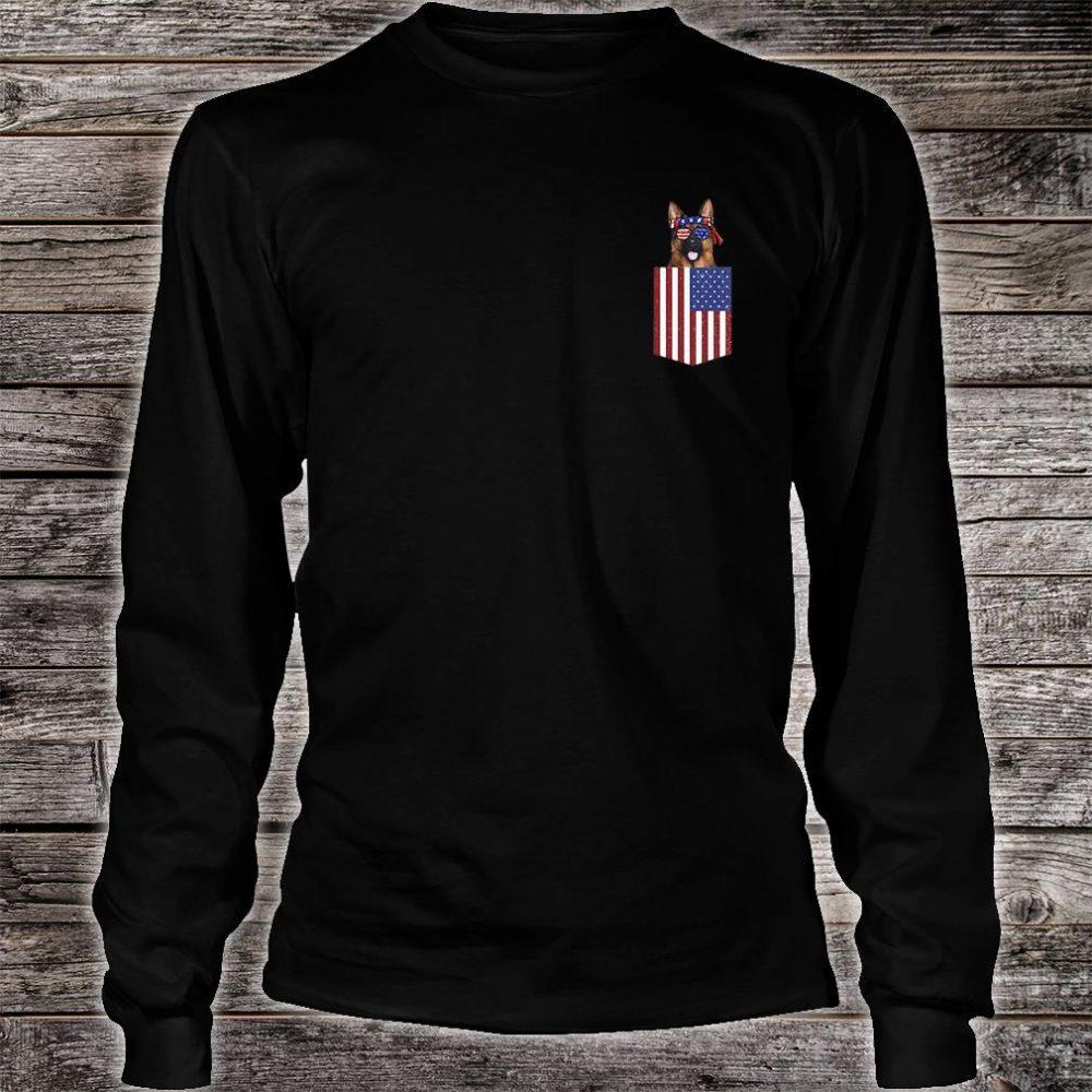 German shepherd pocket American Flag shirt long sleeved
