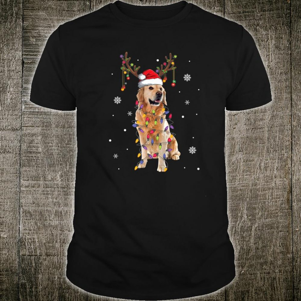 Golden Retriver Santa Hat Reindeer Christmas Lights Shirt