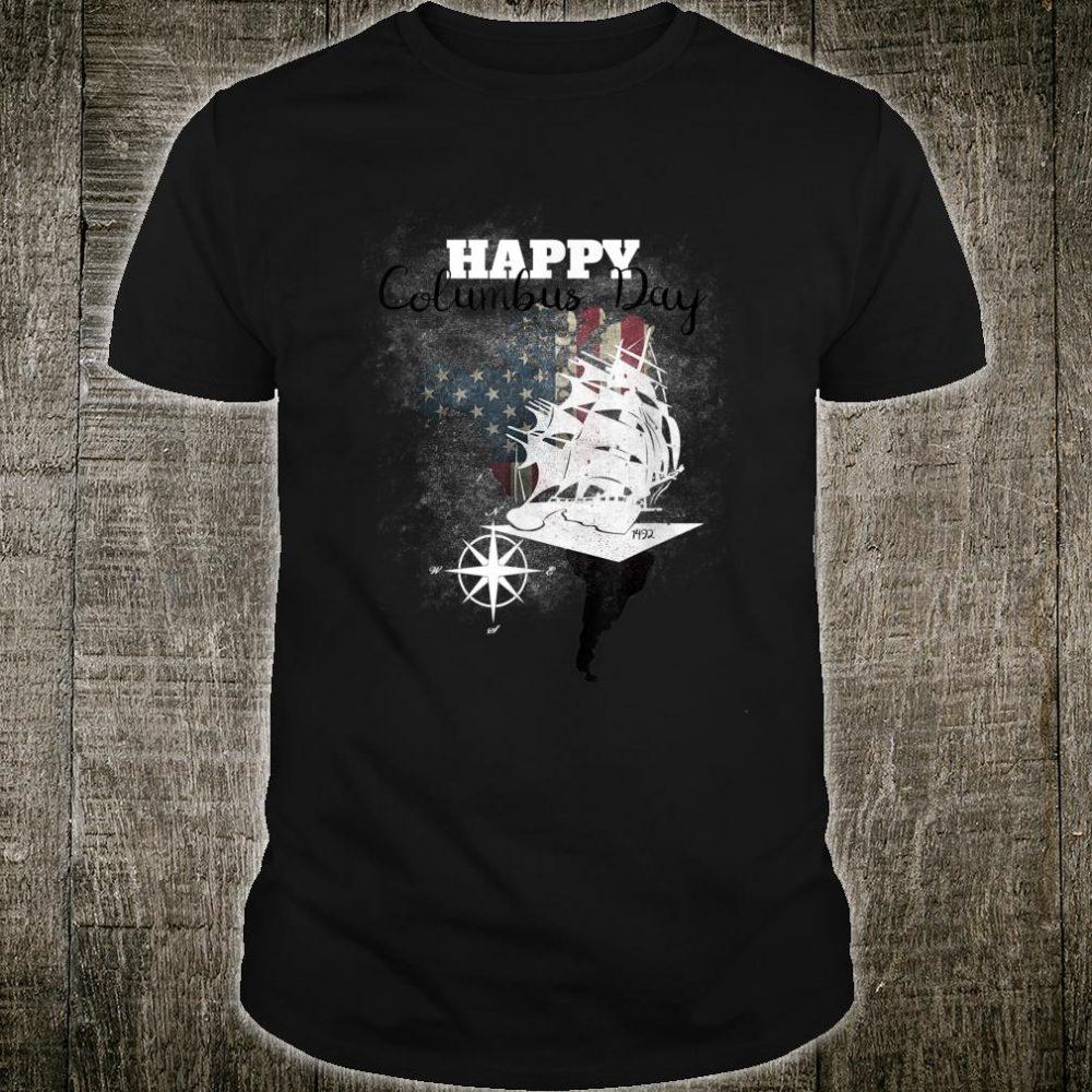 Happy Columbus Day American Flag Cute Holiday Shirt