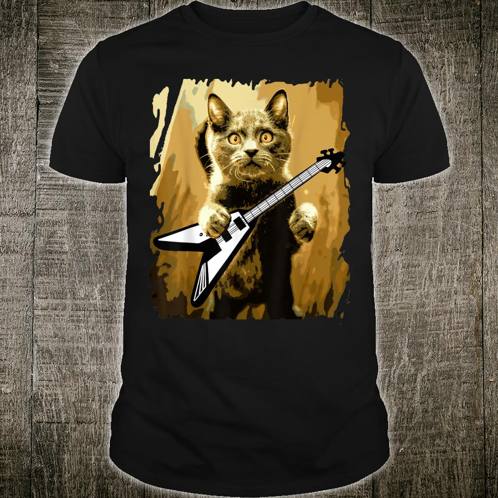 Heavy Metal Guitar Playing Cat Rocker Guitarist Shirt