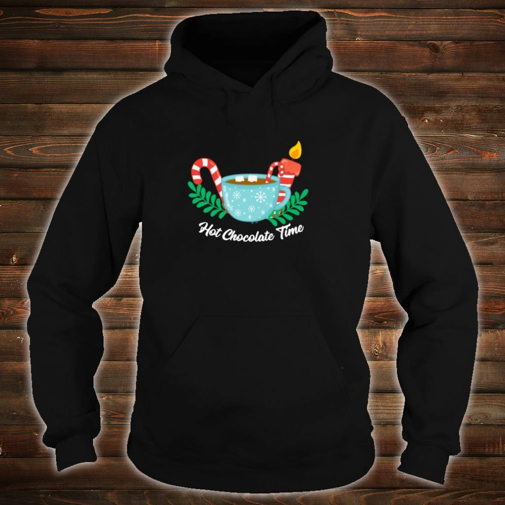 Hot Chocolate Time Marshmallow Candy Cane Christmas Shirt hoodie