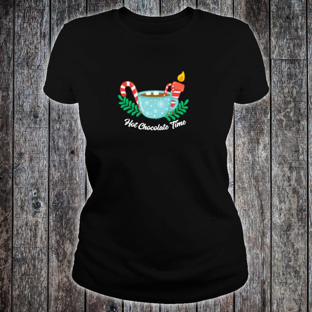 Hot Chocolate Time Marshmallow Candy Cane Christmas Shirt ladies tee