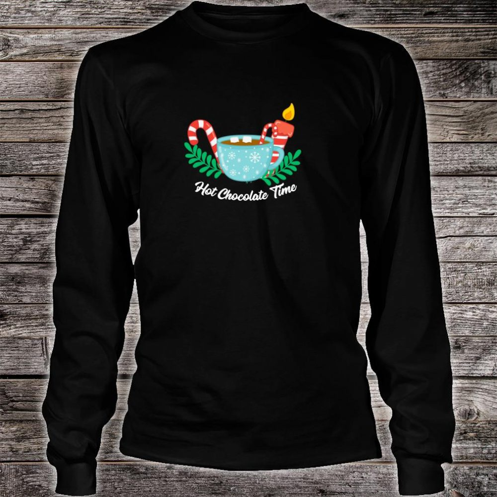 Hot Chocolate Time Marshmallow Candy Cane Christmas Shirt long sleeved