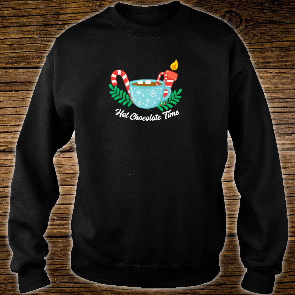 Hot Chocolate Time Marshmallow Candy Cane Christmas Shirt sweater