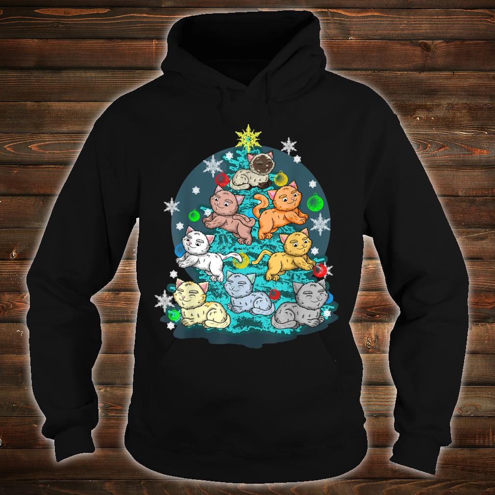 Kitty Cat Christmas Tree Holiday Crazy Cute Rescue Pet Shirt hoodie