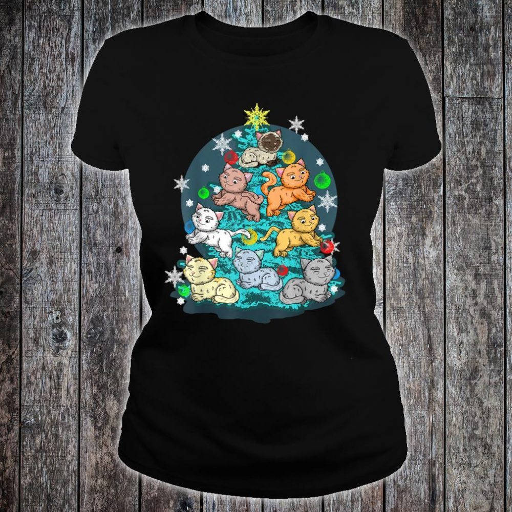 Kitty Cat Christmas Tree Holiday Crazy Cute Rescue Pet Shirt ladies tee