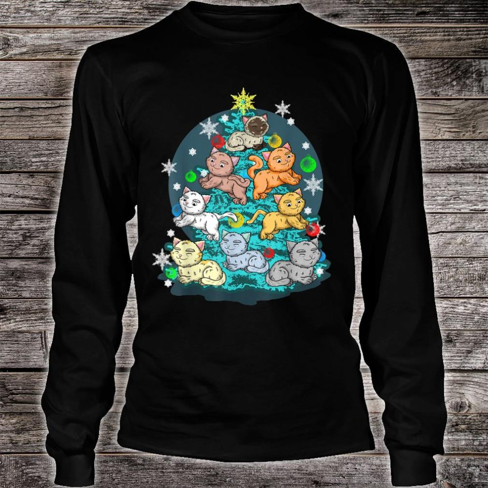 Kitty Cat Christmas Tree Holiday Crazy Cute Rescue Pet Shirt long sleeved