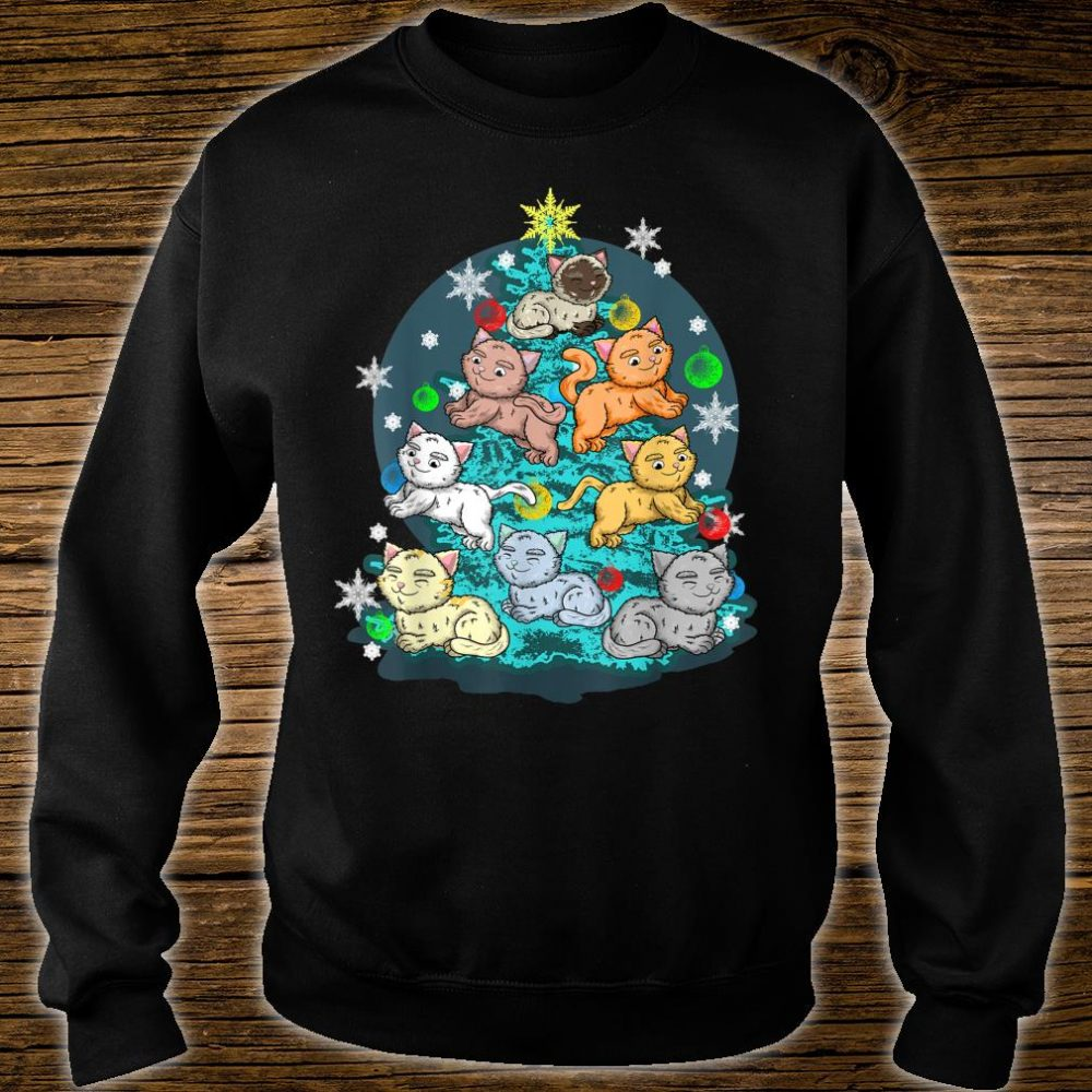 Kitty Cat Christmas Tree Holiday Crazy Cute Rescue Pet Shirt sweater