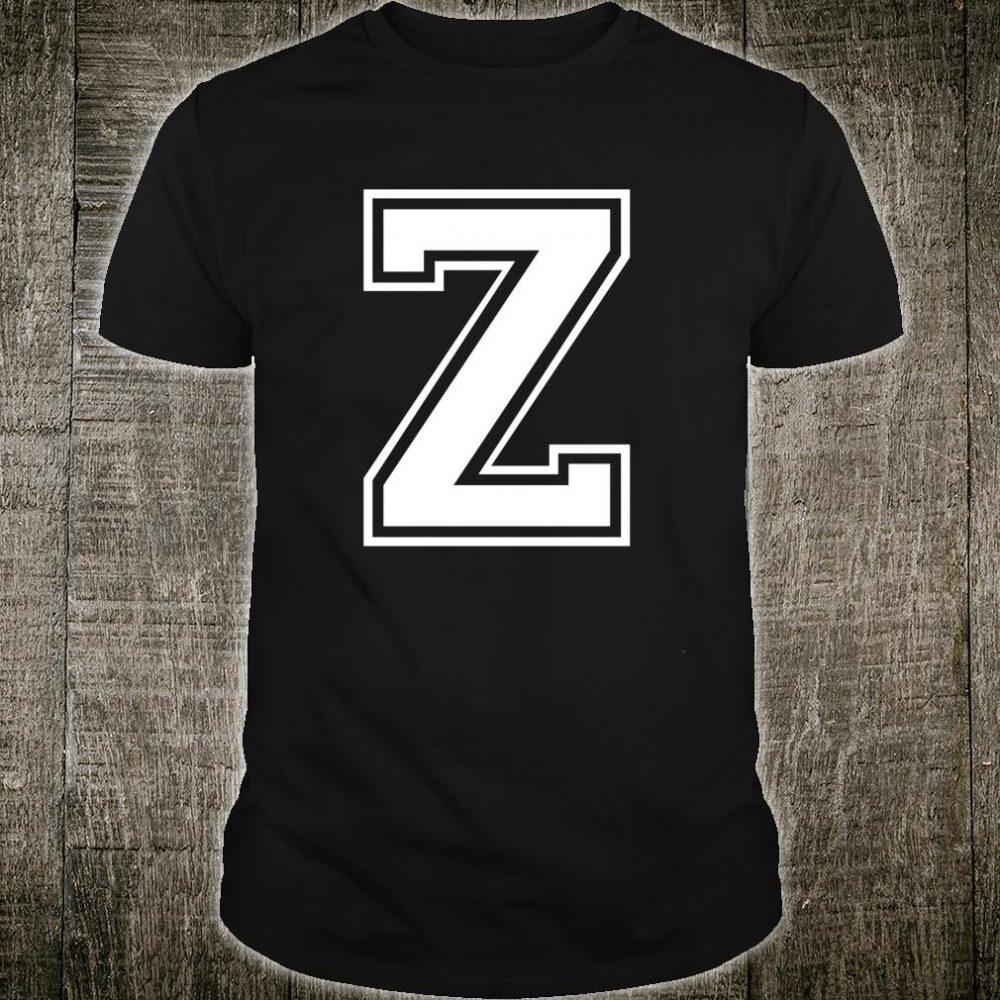 Letter Z Capital Alphabet College Varsity Monogram Club Shirt