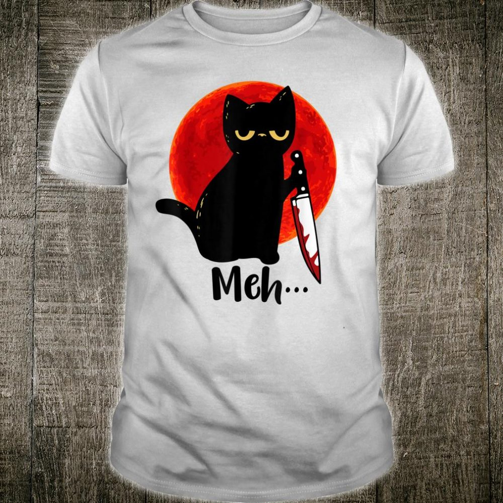 Meh Nani What Red Moon Black Cat Meme Kitten Shirt